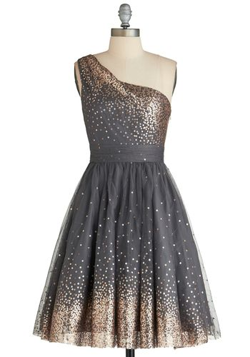 "Starlight Hearted Dress, #ModCloth ~ This dress and the song ""Starlight"" by Taylor Swift ♥ Add some sparkly gold heels and a sparkly star headband = Starry Perfection!"