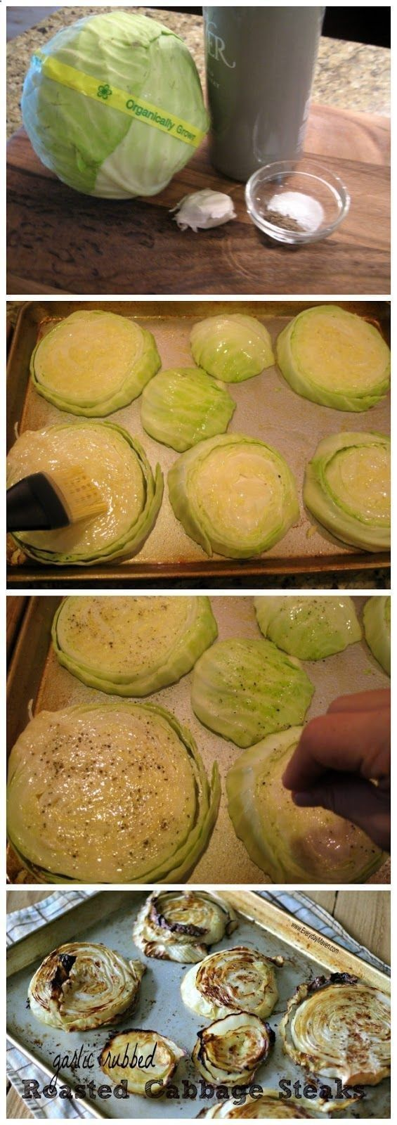 Preheat oven to 400F, spray baking sheet with non-stick cooking spray. Pull outer leaf off cabbage, cut cabbage from top to bottom (bottom being root) into 1 thick slices. Rub both sides of cabbage with smashed garlic. Use pastry brush to evenly spread the olive oil over both sides of the cabbage. Sprinkle each side with bit of kosher salt and cracked black pepper. Roast on middle rack for 30 min. Carefully flip the cabbage and roast for an additional 30 min until edges are brown and crispy.