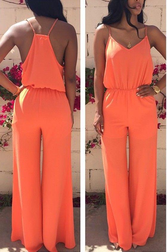 Orange Plain Condole Belt V-neck Sexy Long Jumpsuit