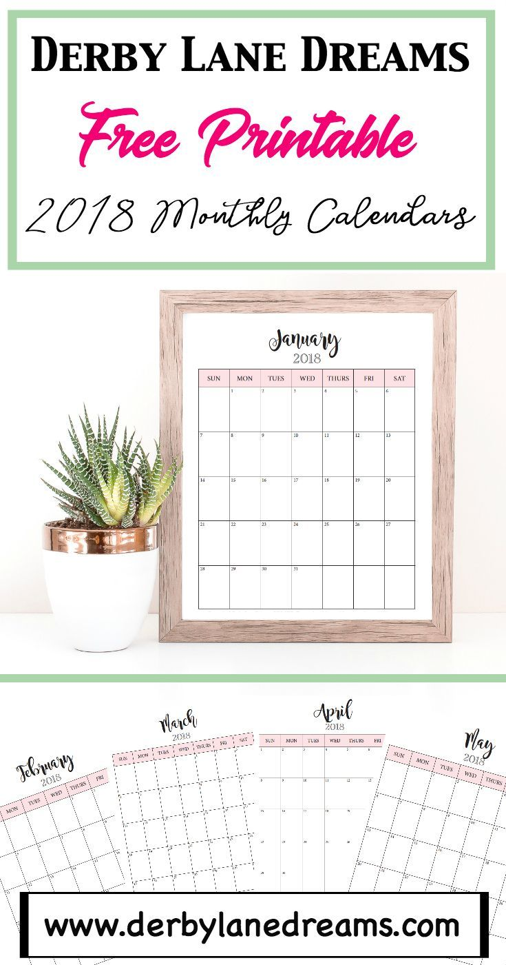 I've created these 2018 Monthly Calendar printables for you to use to get organized in 2018.  Enjoy!