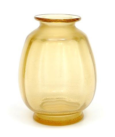 Gold-yellow Sonoor cracqle vase design A.D.Copier 1950 executed by Glasfabriek Leerdam / the Netherlands