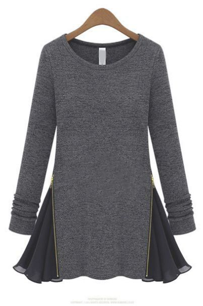 Splicing chiffon long-sleeved T-shirt(2colors)_long sleeve T-shirt_T-Shirt_CLOTHING_Voguec Shop