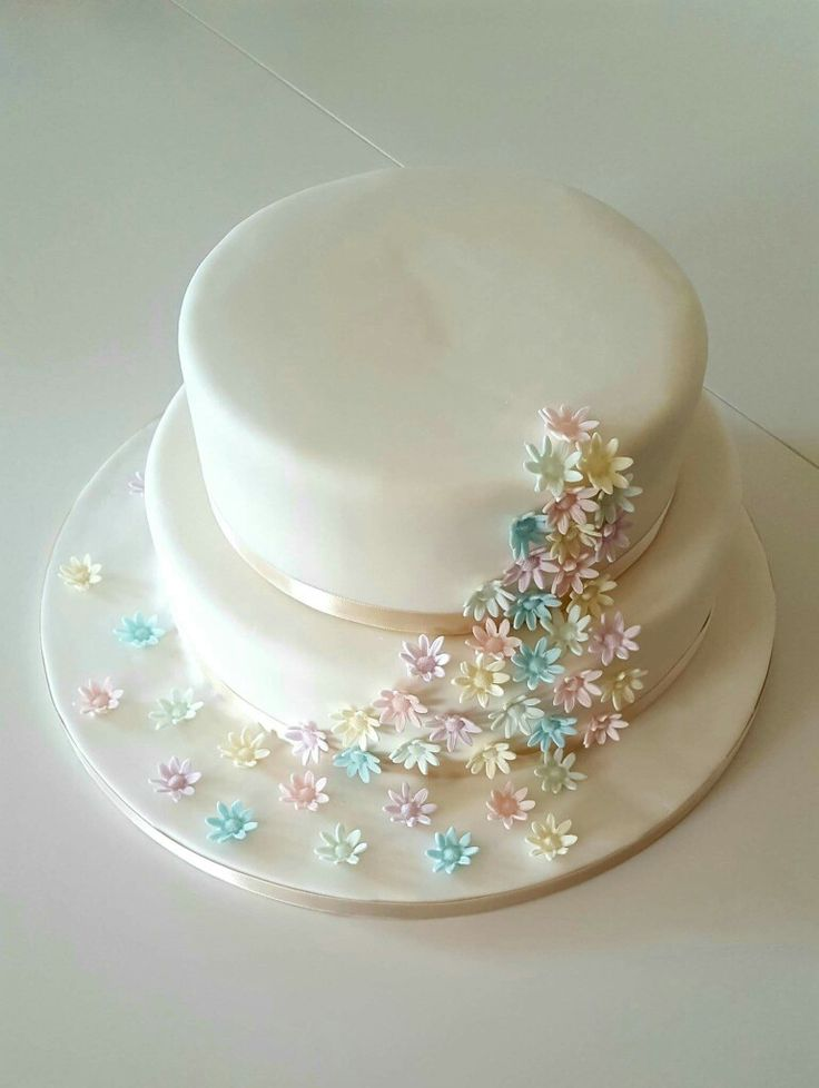 A wedding cake to celebrate a spring wedding. Simple with clean lines.