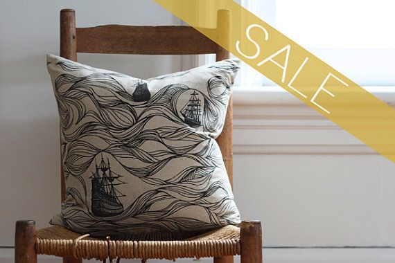 SALE black ships pillow cover on Etsy, Sold