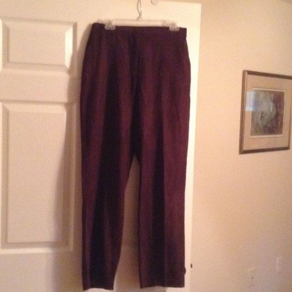 Brown slacks Dark brown, lined slacks with side pockets and elastic on the sides Pants