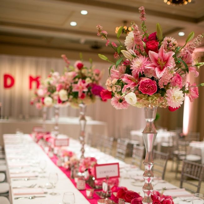 Pink Wedding Centerpiece Ideas: Tall Centerpieces With Color Table Runner