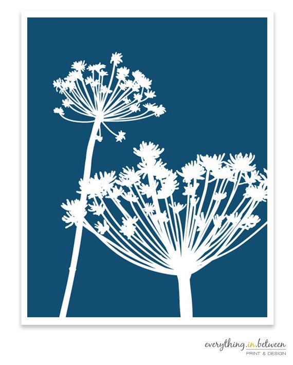 Silhouette Blue Flowers by BetweenEverything on Etsy. I've been wanting to try bleach pen painting on a t-shirt or pillow case. Something like this would look lovely!