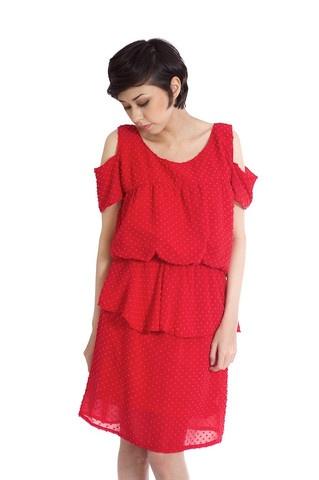 Polka-dot Cutout Sleeve Dress