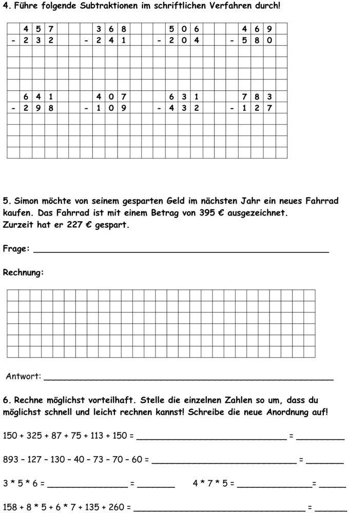 Klassenarbeit zu Schriftliche Addition und Subtraktion