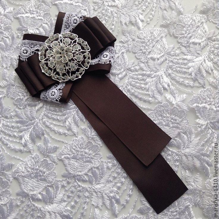 Купить Галстук - серый, репсовая лента, кружево, брошка, галстук, брошь, репсовая лента