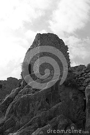 Look up on the territory of the fortress of the Maltese period near Kritinia on a cloudy day. Rhodes, Greece
