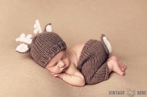 Handmade Crochet Baby Reindeer Hat with Pants