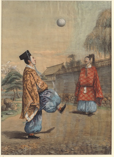 A 19th-century watercolour of Kemari, a Japanese ceremonial football game derived from an ancient Chinese game.