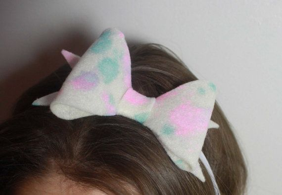 These Cotton Candy Bows are hand crafted with care. Each bow has been hand dyed using light pink and blue colors, making each one different and one of