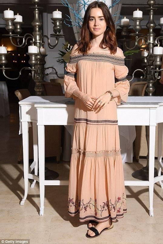 Lily Collins wearing Rachel Zoe Cassidee Off the Shoulder Dress