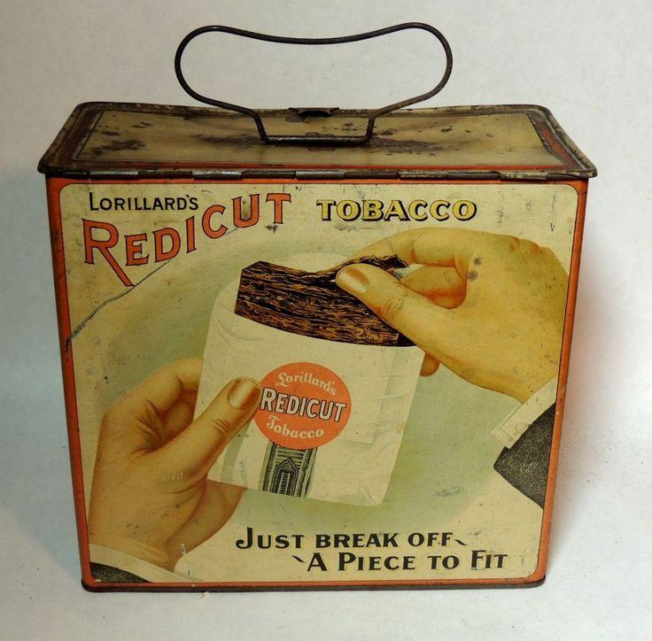 Superb Antique vtg Victorian c1900 Lorillard REDICUT Tobacco TIN Lunch Box Pail