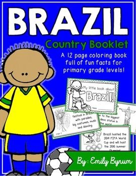 "This ""All About Brazil"" booklet can be used for a very basic country study in lower elementary grades!Just print out the pages, have kids cut along the center dotted line, stack the small pages on top of each other and staple together! All clip-art is in an outline format so that it's ready to be colored like a mini-coloring book.This 11 page coloring booklet gives all the general/basic information about Brazil, including:-geography-Brazilian flag-capital city of Brasilia (Cathedral of…"