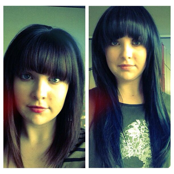 Cool brunette with amazing bangs! www.dollhousehair.ca