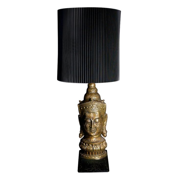Gold-Leaf Asian Table Lamp with Original Shade | From a unique collection of antique and modern table lamps at https://www.1stdibs.com/furniture/lighting/table-lamps/