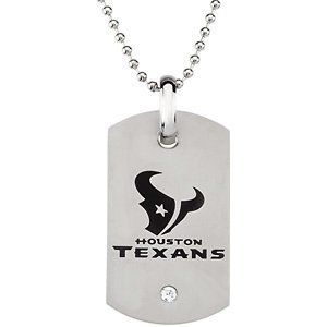 "Houston Texans Official NFL Logo Dog Tag Necklace with CZ, 27"" The Men's Jewelry Store. $46.88. NFL Dog Tag Necklace with a Bezel-set 4.00mm Cubic Zirconia Gemstone. Houston Texans Football Logo Etched in Black Enamel. Officially Licensed NFL Fine Jewelry. Houston Texans Dog Tag is 45.50mm by 26mm. 316L Stainless Steel is Hypoallergenic and Gentle on Sensitive Skin"