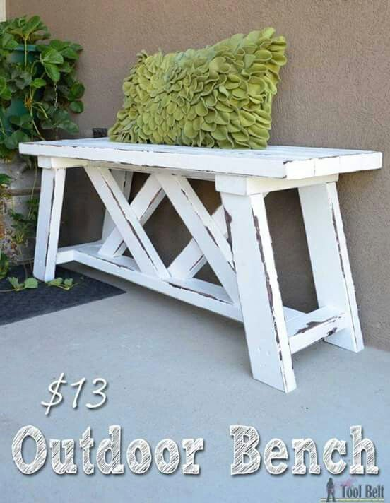 $13 OUTDOOR BENCH. If you have a few hours and $13 you can have this cute bench made! http://www.theidearoom.net/2016/07/how-to-build-an-outdoor-bench.html