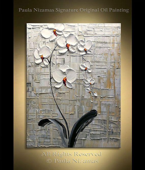 Textura extra pesado orquídea pintura abstracta Floral