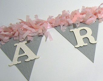 Pink and Gray Baby Shower Decorations-Sweet Baby Banner - pom pom NAME Banner -