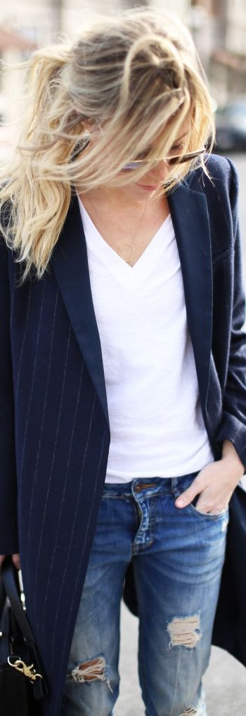 White tee,jeans & a blazer.