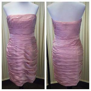 Monique Lhuillier Blush Pink Ruched Strapless Shift Bridesmaid Dress | eBay