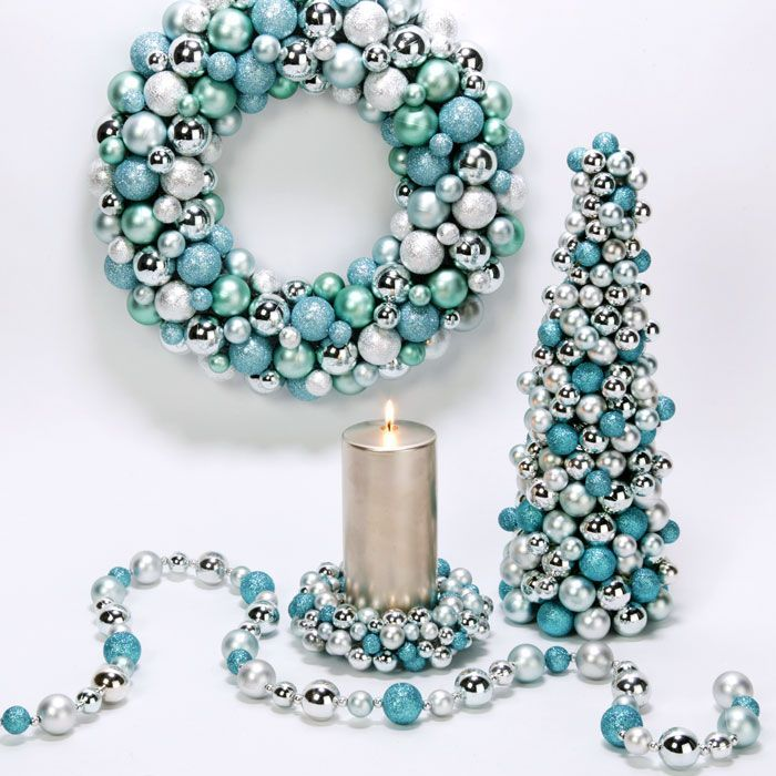 Ice Blue Christmas Ornament Wreath & Tree