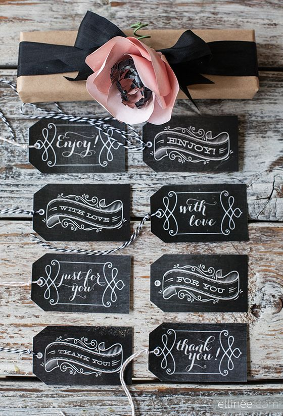 Printable Chalkboard Gift Tags by Ellinée