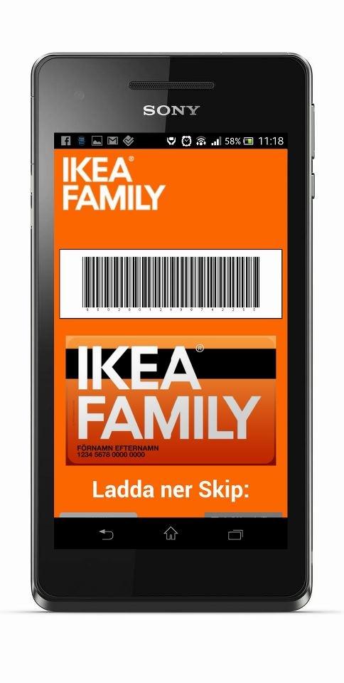 Glömt ditt IKEA FAMILY-kort hemma? Inga problem du kan då bara sms:a till 72130. Skriv IKEA FAMILY och sen ditt 10-siffriga personnummer (ex. IKEA FAMILY 6912273973). Kort därefter får du tillbaka ett SMS som du visar i kassan, har du smartphone kan du klicka på länken i SMS:et och visa ditt mobila medlemskort.