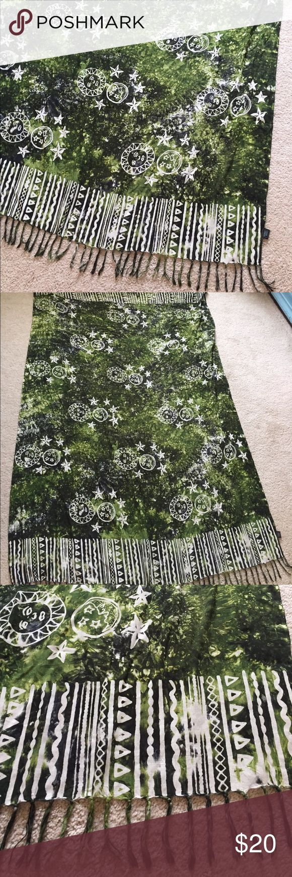 Earthy Sun and Moon Beach Sarong Love this beach Sarong! It is green and white. The edges have fringe and stripes. The design is the sun, moon, and all of the stars! Perfect coverup for a beach day or to lay on in the sand 😍 Swim Sarongs