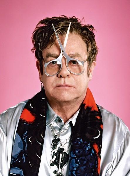 Elton John in Pop Magazine Spring Summer 2011.  Scissor frames from General Eyewear's historical collection.
