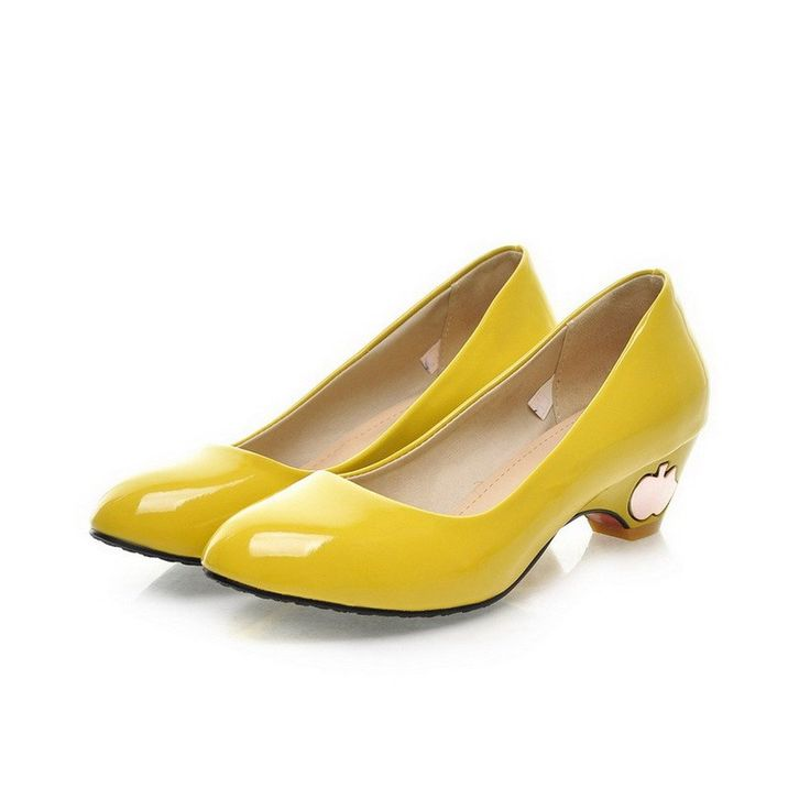 """AmoonyFashion Womens Closed Pointed Toe Kitten Heel Patent Leather Solid Pumps with Metalornament, Yellow, 4.5 B(M) US. Heel Hight measures approximately 1 3/4"""". Upper Materials:?Patent Leather; Lining Material:?PU. Popular Element: Metalornament. Made In China; Our Shoes are marked as European Size, please choose your right size at our size chart. We have updated the size chart, please refer to our new size chart."""