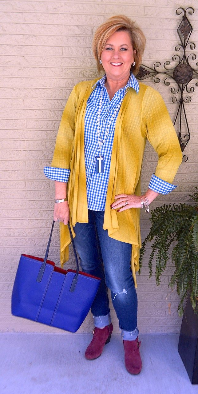 50 IS NOT OLD | GINGHAM CHECK | Cardigan | Distressed Jeans | Lanyard Style | Fashion over 40 for the everyday woman