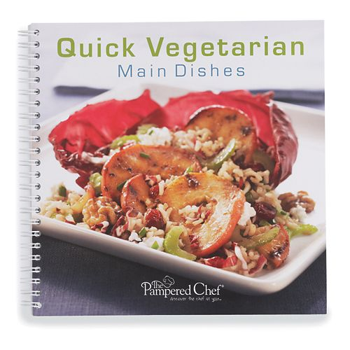 The Pampered Chef® Quick Vegetarian Main Dishes  So delicious, you'll forget they're meatless. Thirty simple vegetarian recipes feature fresh garden flavors, like Artichoke & Red Bell Pepper Risotto, Caprese Pizzas and Sweet Potato Tagine with Pine Nut Couscous. Spiral bound. English only.