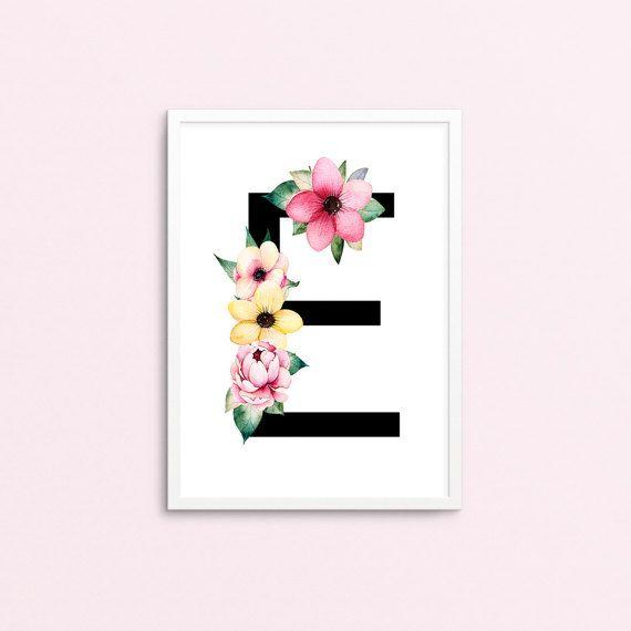 Lettre E - monogramme fleuri - Art & objets de collection - Digital Art Print - imprimable - affiche - pépinière impression