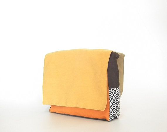 Orange laptop messenger bag, men messenger bag, women shoulder bags ,canvas messenger bag, cute messenger bags, college hipster laptop bag