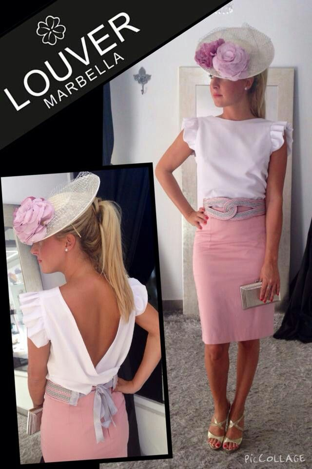 #Louvermarbella#faldalapiz#rosapalo#blusa#blanco#cinturon#plata#tocado