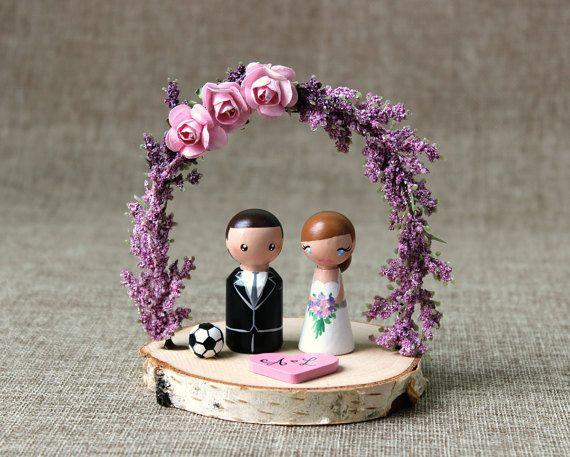Custom Wedding Cake Topper: Peg doll custom cake topper - Wooden cake topper - Purple wedding arch - Sport cake topper - Bride and Groom