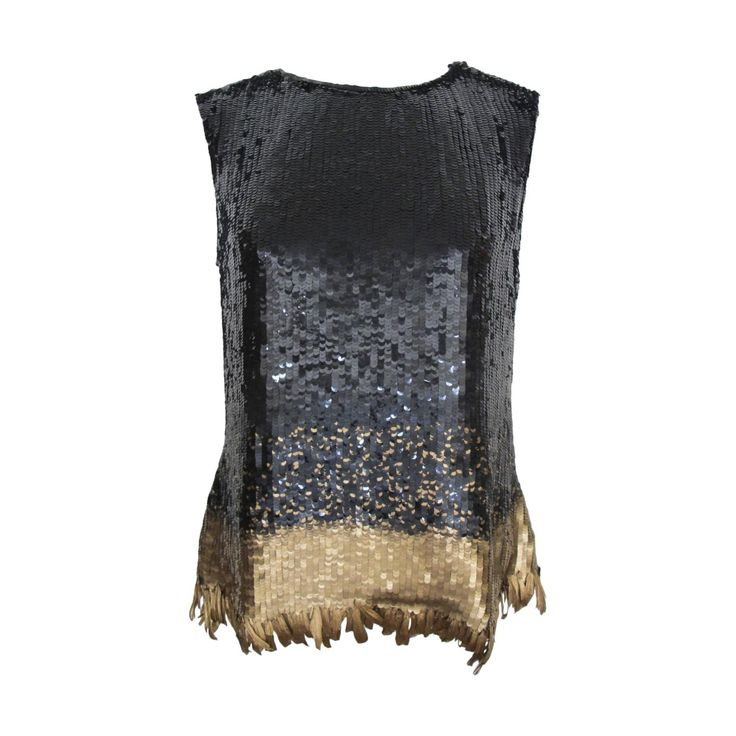 Oscar de la Renta Chic Black Sequined Evening Blouse with Gold Feathers | From a collection of rare vintage blouses at https://www.1stdibs.com/fashion/clothing/blouses/