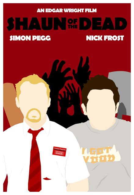Shaun of the Dead: Awesome Movie, Yasmin Nadhirasari, Minimalist Movie Posters, Picture-Black Posters, Posters Design, Dead 2004, Shaun, Best Movie Posters, Minimal Movie Posters