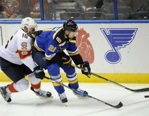 Blues agree on $19.25 million, 5-year deal with Berglund:  February 24, 2017  -          Florida Panthers' Aleksander Barkov (16), of Finland, reaches for the puck with St. Louis Blues' Patrik Berglund (21), of Sweden, during the second period of an NHL hockey game Monday, Feb. 20, 2017, in St. Louis. (AP Photo/Bill Boyce)