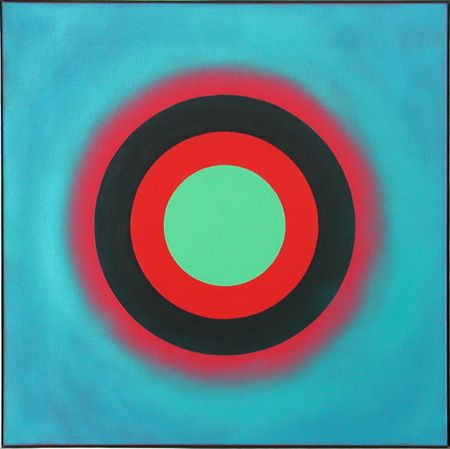 Kenneth Noland -Mysteries: Red Image, acrylic on canvas, 36x36, 2001
