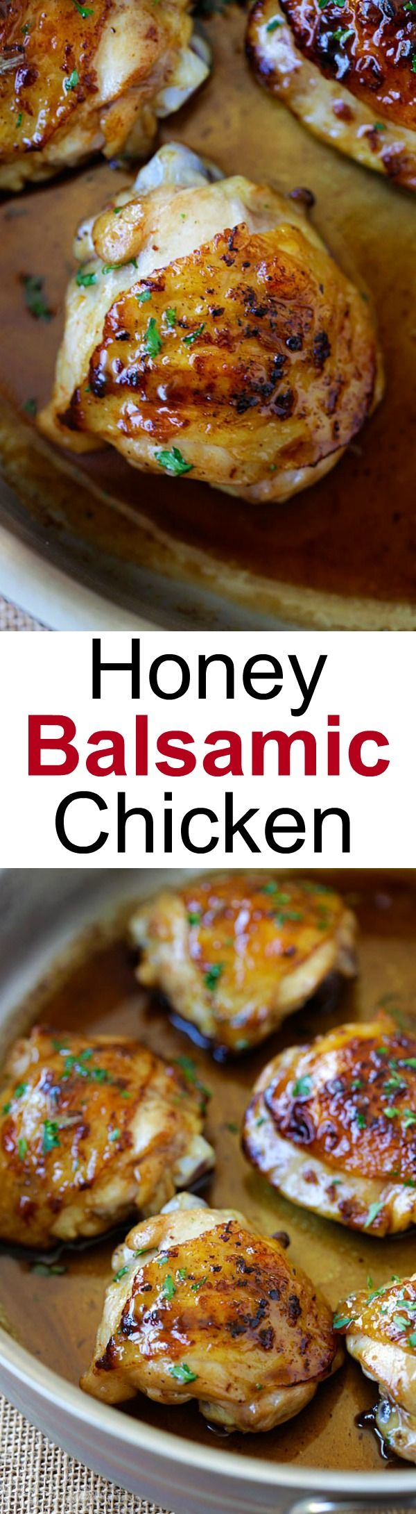 Honey Balsamic Chicken – the easiest skillet chicken with sweet and savory honey balsamic sauce. Homemade chicken dinner is so good with this recipe | rasamalaysia.com