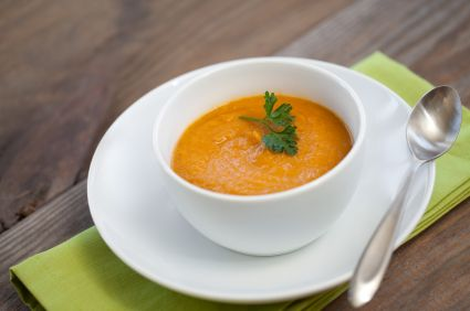 Cancer-Fighting Spicy Pumpkin Soup Should be good, just switch out the butter for ghee or Earth Balance Soy Free...