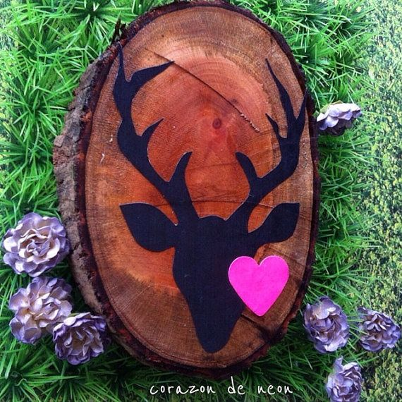 decorative slab of wood with deer print by corazondeneon on Etsy, $15.00
