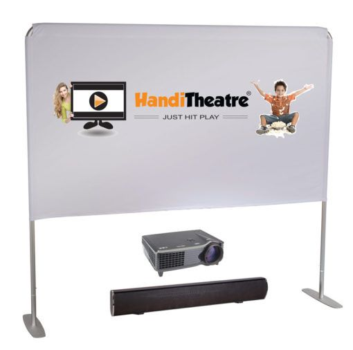 portable and affordable outdoor cinema screen is called HandiTheatre Light. The system comes complete with a soundbar and a bright movie projector. Great for movie nights