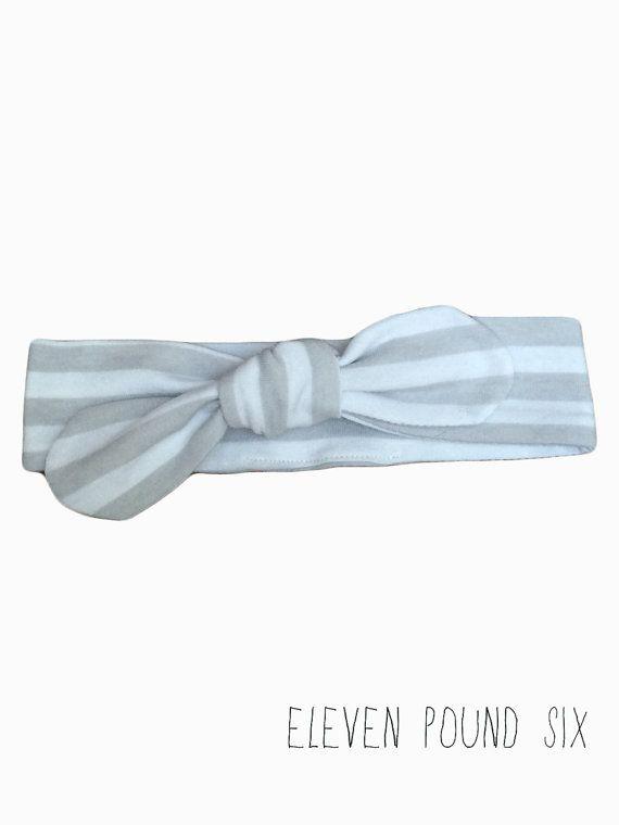 Basic grey/gray and white stripe bow knot topknot headband
